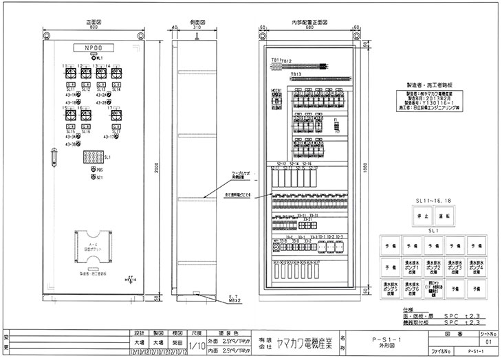 設計で使用する主なシステム 配電盤・制御盤・分電盤・計装盤製品の製作・製造を設計、板金、配電組立、検査まで一貫生産のヤマカワ電機